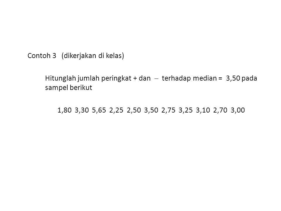 Contoh 3 (dikerjakan di kelas) Hitunglah jumlah peringkat + dan  terhadap median = 3,50 pada sampel berikut 1,80 3,30 5,65 2,25 2,50 3,50 2,75 3,25 3