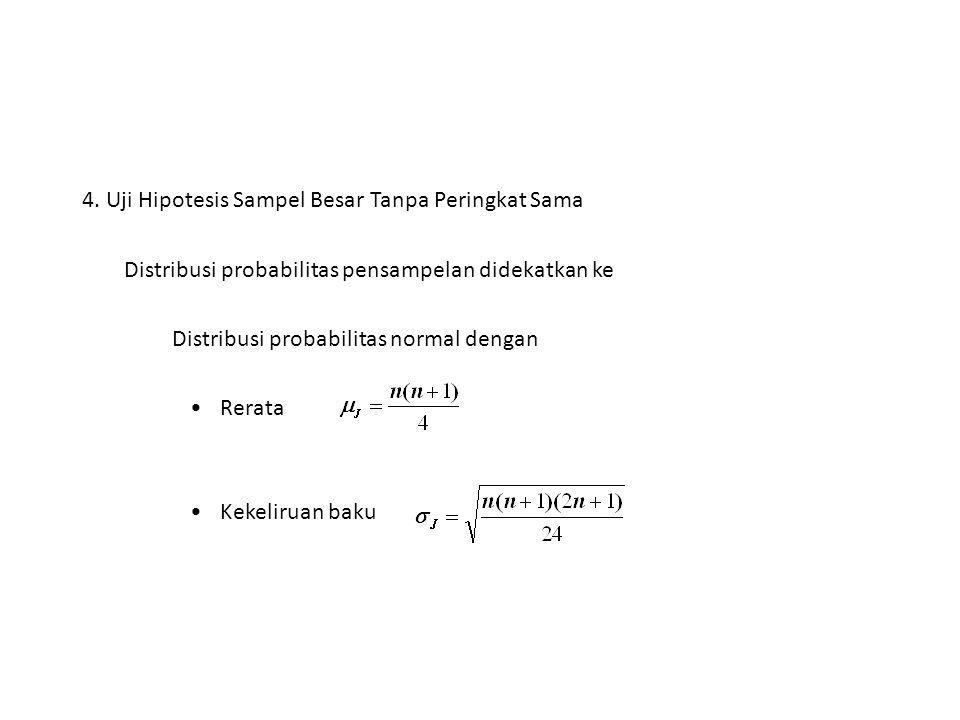 4. Uji Hipotesis Sampel Besar Tanpa Peringkat Sama Distribusi probabilitas pensampelan didekatkan ke Distribusi probabilitas normal dengan Rerata Keke