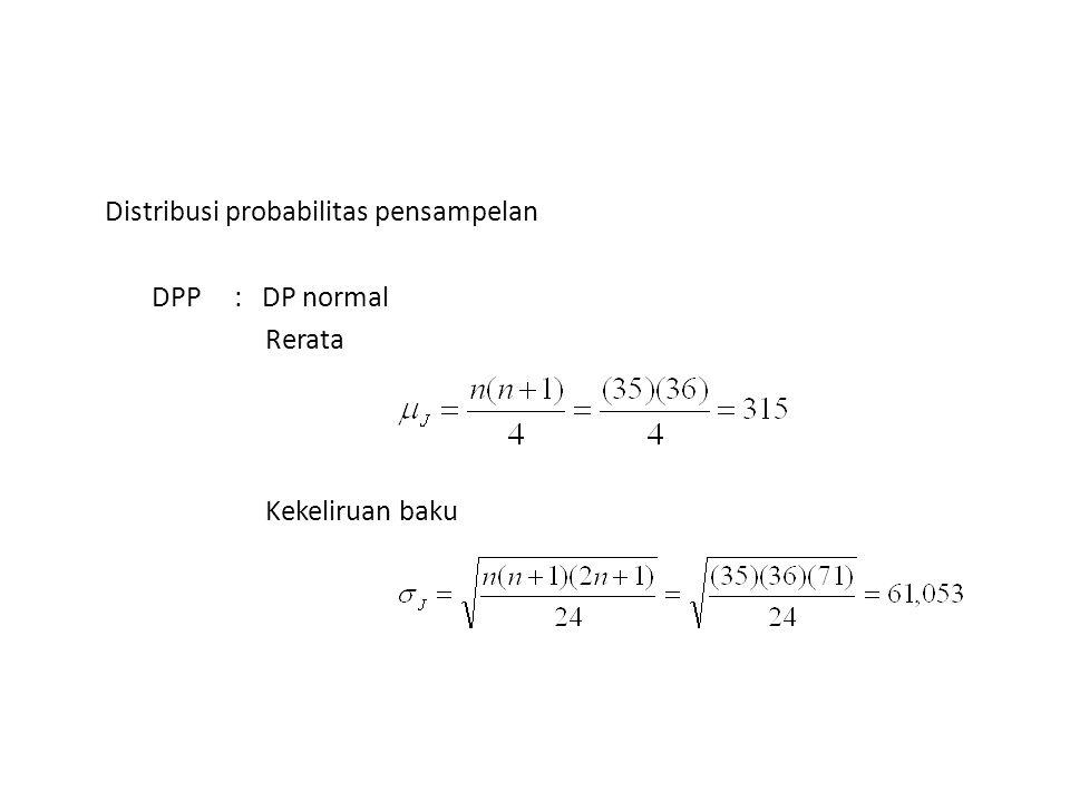 Distribusi probabilitas pensampelan DPP : DP normal Rerata Kekeliruan baku