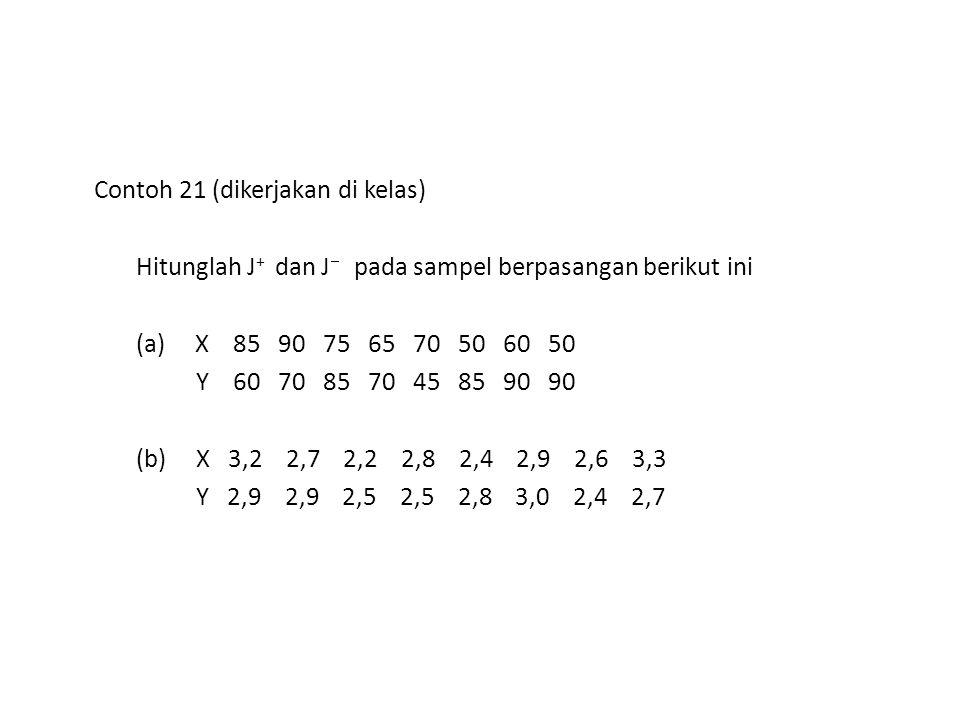 Contoh 21 (dikerjakan di kelas) Hitunglah J + dan J  pada sampel berpasangan berikut ini (a) X 85 90 75 65 70 50 60 50 Y 60 70 85 70 45 85 90 90 (b)