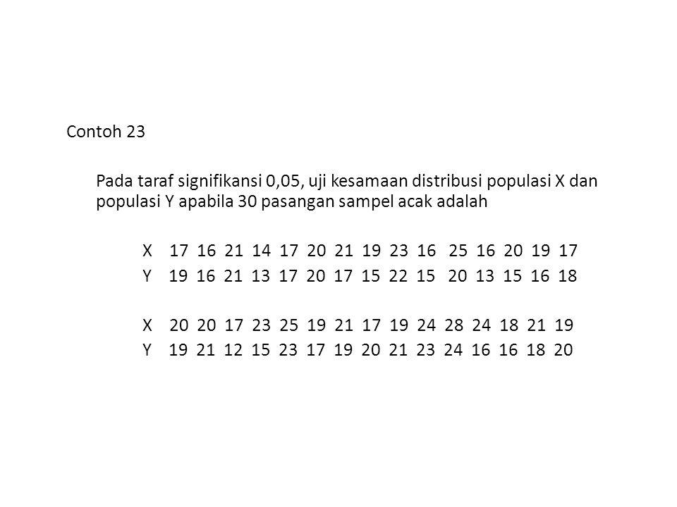 Contoh 23 Pada taraf signifikansi 0,05, uji kesamaan distribusi populasi X dan populasi Y apabila 30 pasangan sampel acak adalah X 17 16 21 14 17 20 2
