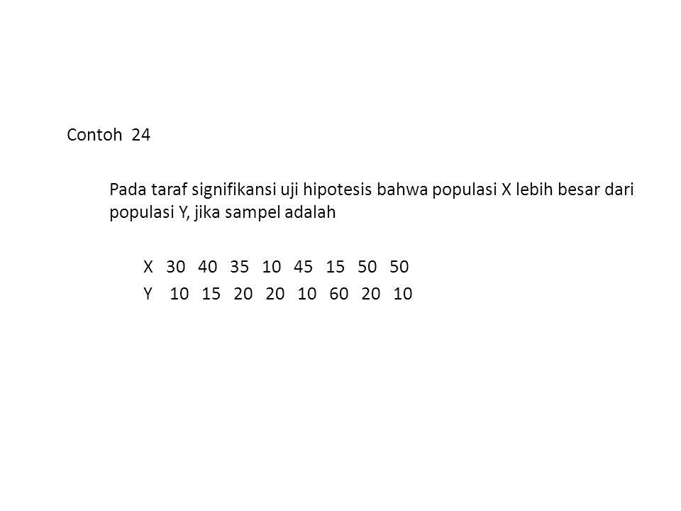 Contoh 24 Pada taraf signifikansi uji hipotesis bahwa populasi X lebih besar dari populasi Y, jika sampel adalah X 30 40 35 10 45 15 50 50 Y 10 15 20