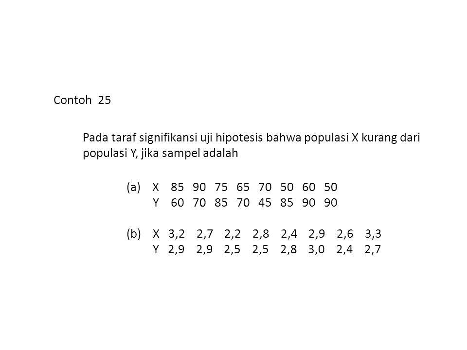 Contoh 25 Pada taraf signifikansi uji hipotesis bahwa populasi X kurang dari populasi Y, jika sampel adalah (a) X 85 90 75 65 70 50 60 50 Y 60 70 85 7