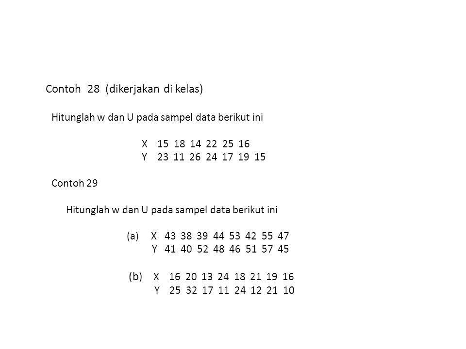 Contoh 28 (dikerjakan di kelas) Hitunglah w dan U pada sampel data berikut ini X 15 18 14 22 25 16 Y 23 11 26 24 17 19 15 Contoh 29 Hitunglah w dan U