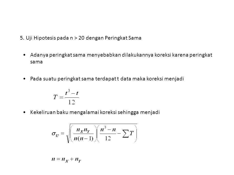 5. Uji Hipotesis pada n > 20 dengan Peringkat Sama Adanya peringkat sama menyebabkan dilakukannya koreksi karena peringkat sama Pada suatu peringkat s