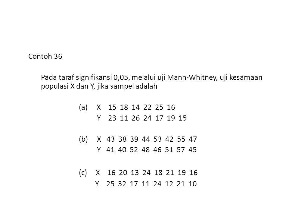 Contoh 36 Pada taraf signifikansi 0,05, melalui uji Mann-Whitney, uji kesamaan populasi X dan Y, jika sampel adalah (a) X 15 18 14 22 25 16 Y 23 11 26