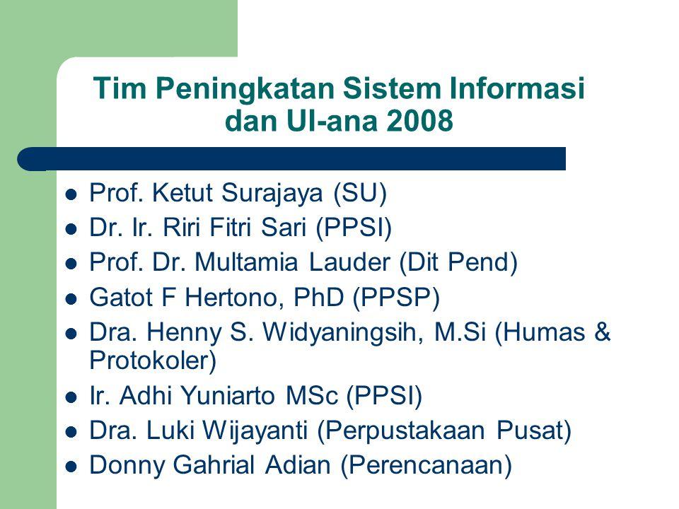 Tim Peningkatan Sistem Informasi dan UI-ana 2008 Prof. Ketut Surajaya (SU) Dr. Ir. Riri Fitri Sari (PPSI) Prof. Dr. Multamia Lauder (Dit Pend) Gatot F
