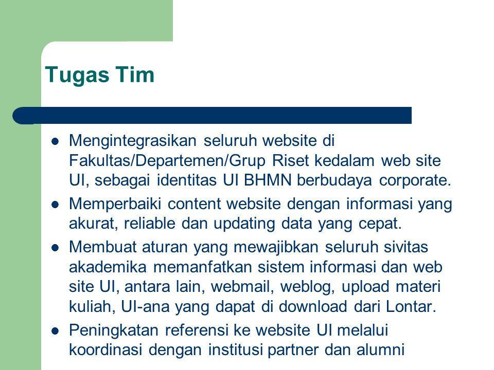 Tugas Tim Mengintegrasikan seluruh website di Fakultas/Departemen/Grup Riset kedalam web site UI, sebagai identitas UI BHMN berbudaya corporate. Mempe