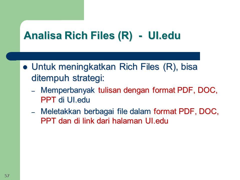 Analisa Rich Files (R) - UI.edu Untuk meningkatkan Rich Files (R), bisa ditempuh strategi: Untuk meningkatkan Rich Files (R), bisa ditempuh strategi: – Memperbanyak tulisan dengan format PDF, DOC, PPT di UI.edu – Meletakkan berbagai file dalam format PDF, DOC, PPT dan di link dari halaman UI.edu 57