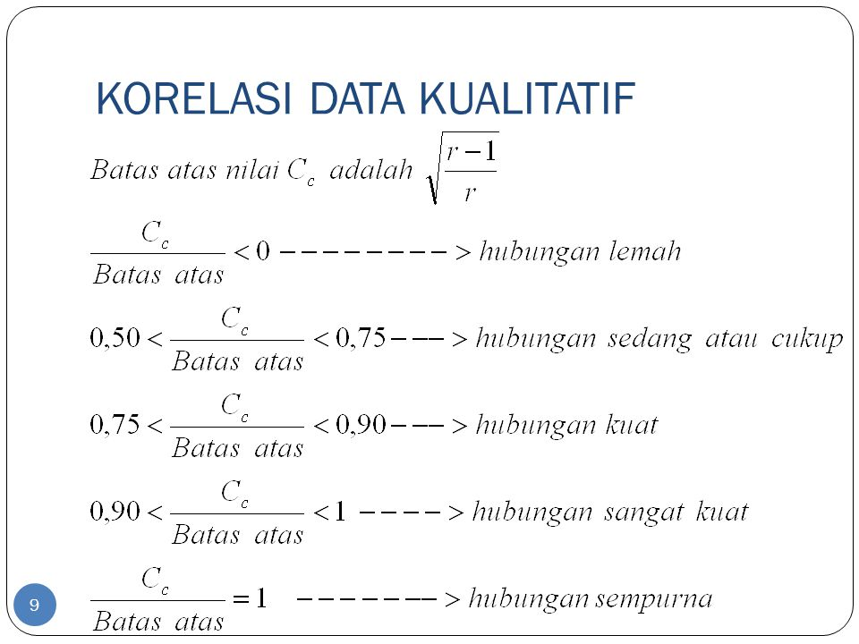 KORELASI DATA KUALITATIF 9