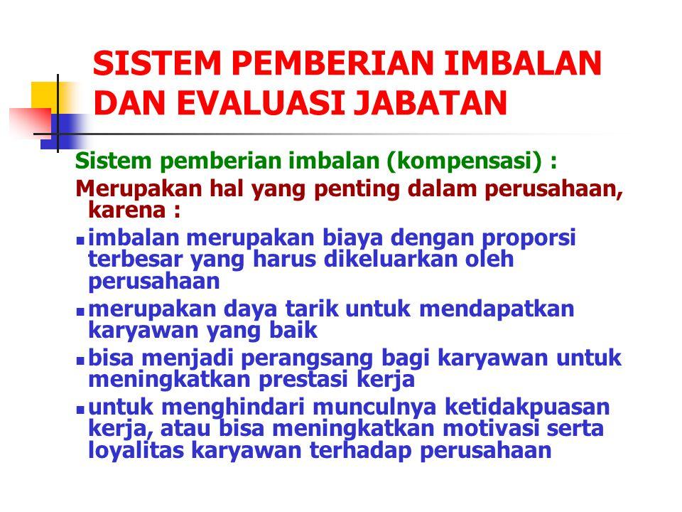 SISTEM PEMBERIAN IMBALAN DAN EVALUASI JABATAN Sistem pemberian imbalan (kompensasi) : Merupakan hal yang penting dalam perusahaan, karena : imbalan me