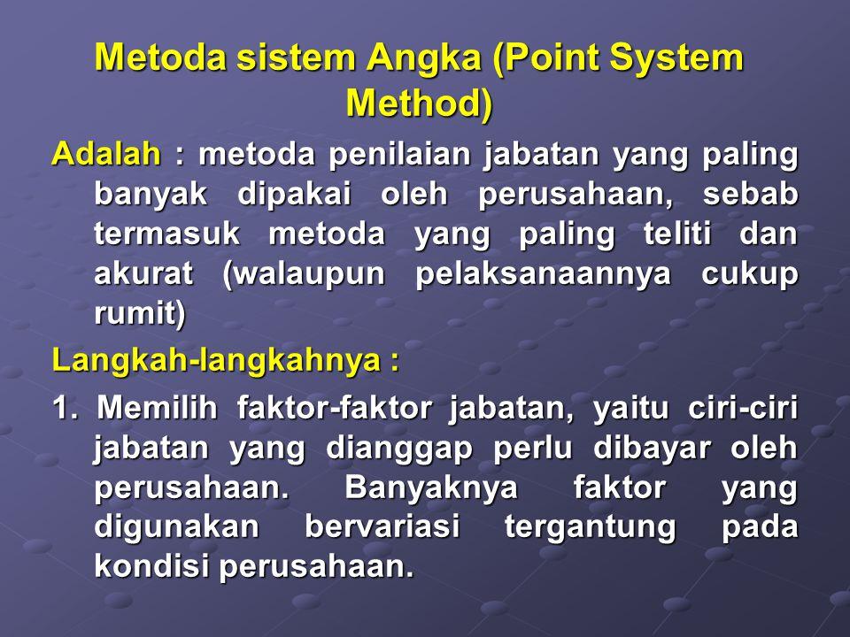 Metoda sistem Angka (Point System Method) Adalah : metoda penilaian jabatan yang paling banyak dipakai oleh perusahaan, sebab termasuk metoda yang pal