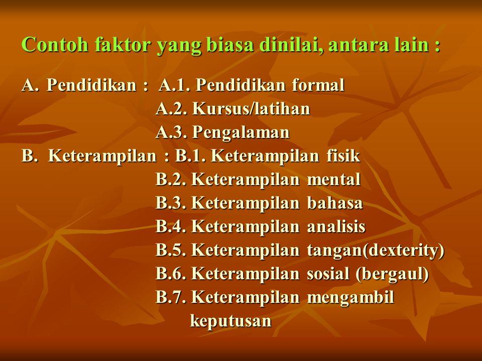 Contoh faktor yang biasa dinilai, antara lain : A.Pendidikan : A.1. Pendidikan formal A.2. Kursus/latihan A.2. Kursus/latihan A.3. Pengalaman A.3. Pen