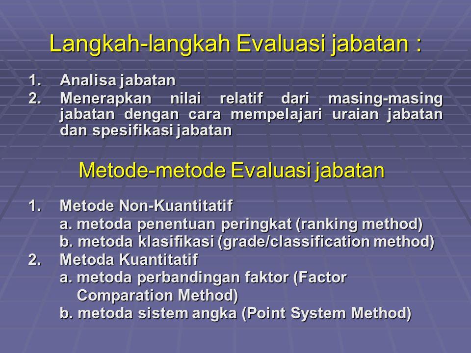 Langkah-langkah Evaluasi jabatan : 1.Analisa jabatan 2.Menerapkan nilai relatif dari masing-masing jabatan dengan cara mempelajari uraian jabatan dan