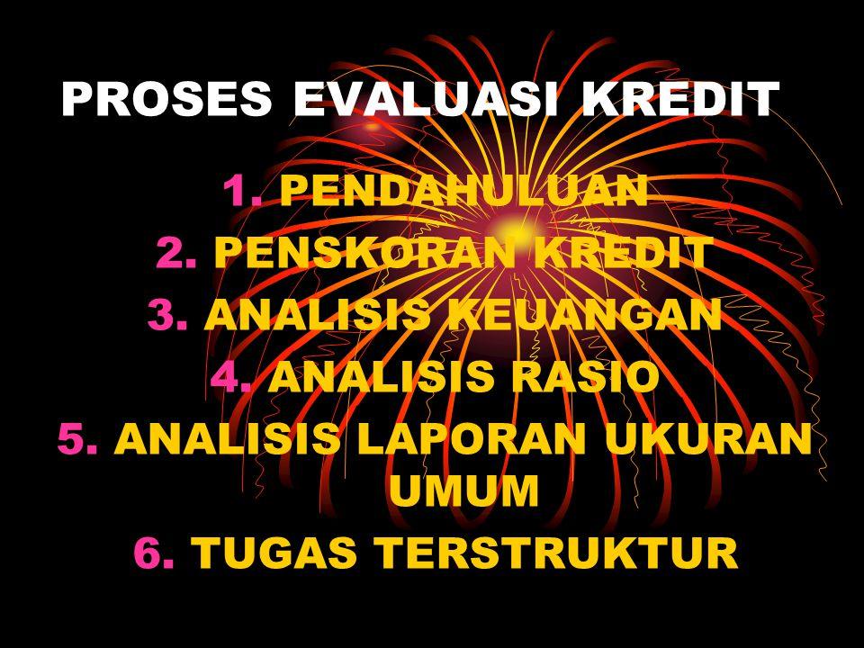 PROSES EVALUASI KREDIT 1.PENDAHULUAN 2.PENSKORAN KREDIT 3.ANALISIS KEUANGAN 4.ANALISIS RASIO 5.ANALISIS LAPORAN UKURAN UMUM 6.TUGAS TERSTRUKTUR