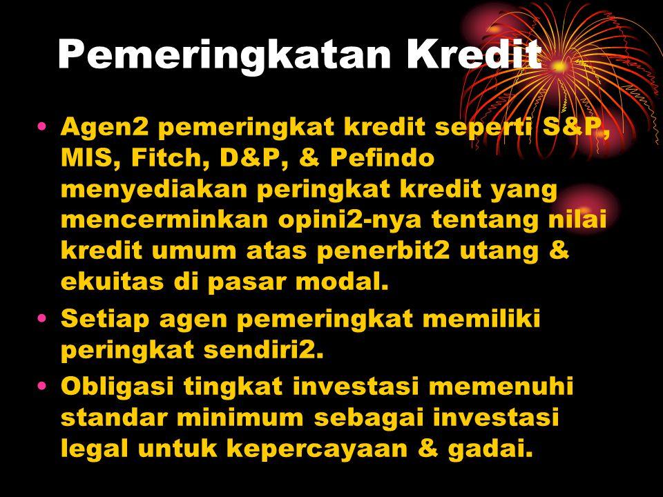 Pemeringkatan Kredit Agen2 pemeringkat kredit seperti S&P, MIS, Fitch, D&P, & Pefindo menyediakan peringkat kredit yang mencerminkan opini2-nya tentan