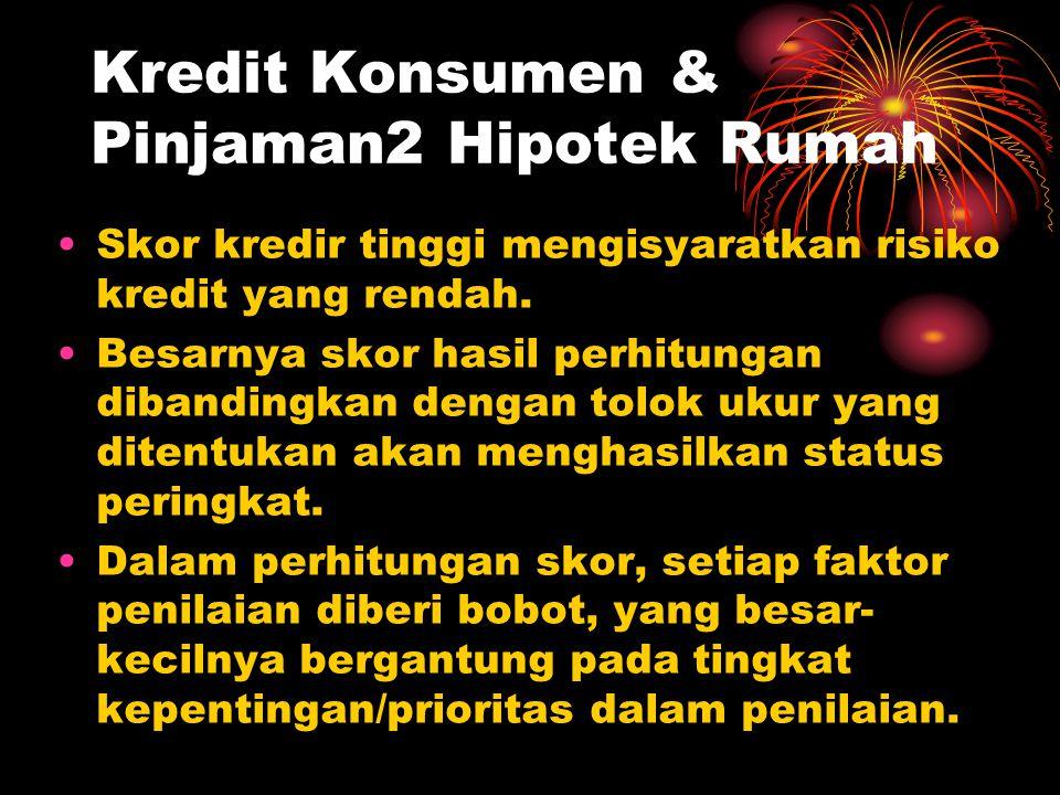 Kredit Konsumen & Pinjaman2 Hipotek Rumah Skor kredir tinggi mengisyaratkan risiko kredit yang rendah. Besarnya skor hasil perhitungan dibandingkan de