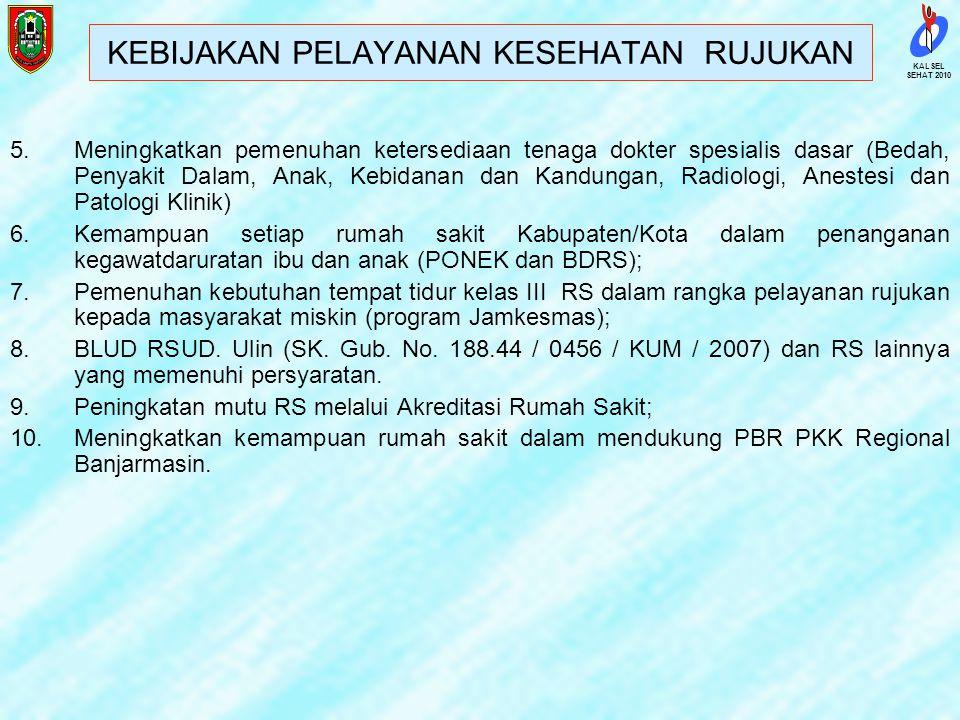 SEHAT 2010 KALSEL 2.Ditetapkan Rumah Sakit Jiwa Sambang Lihum (ex RS Jiwa Tamban) sebagai pusat rujukan Kesehatan Jiwa di Provinsi Kalimantan Selatan