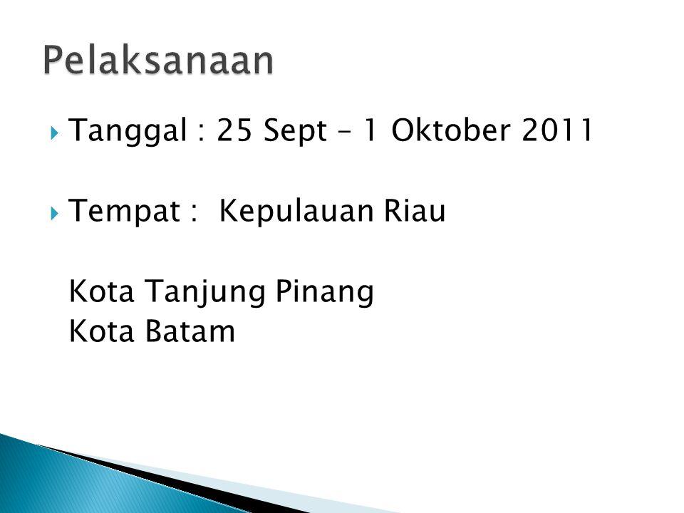  Tanggal : 25 Sept – 1 Oktober 2011  Tempat : Kepulauan Riau Kota Tanjung Pinang Kota Batam