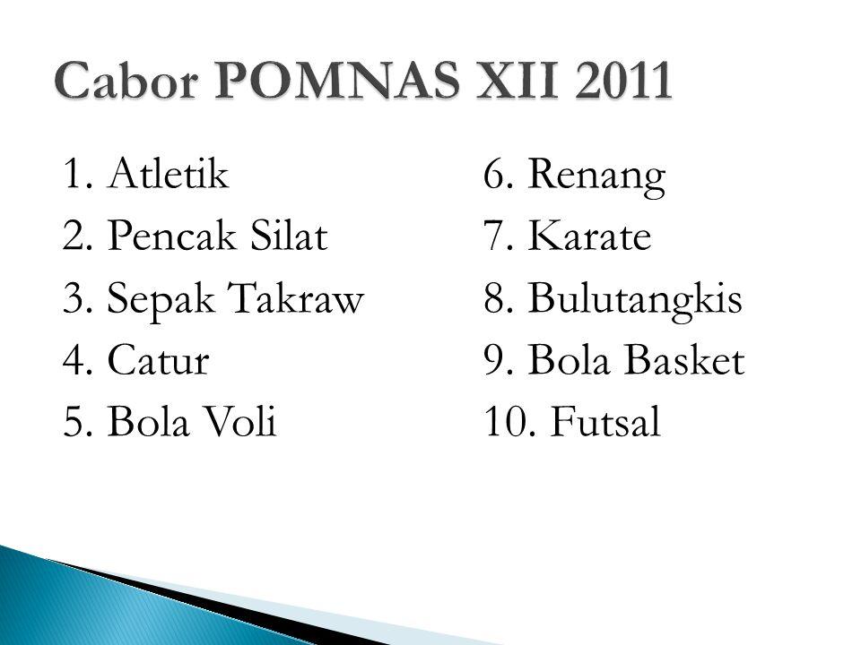 1. Atletik6. Renang 2. Pencak Silat7. Karate 3.