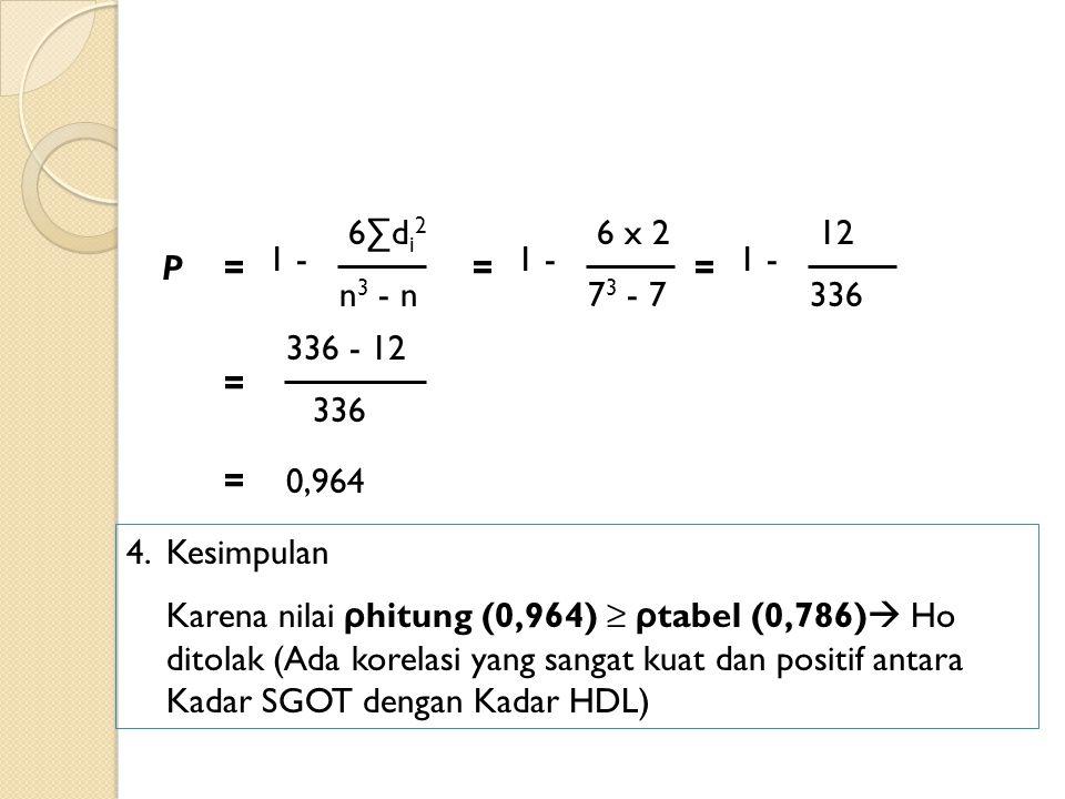 P 6∑d i 2 1 - n 3 - n = 6 x 2 1 - 7 3 - 7 = 12 1 - 336 = 336 - 12 336 = =0,964 4.Kesimpulan Karena nilai ρ hitung (0,964) ≥ ρ tabel (0,786)  Ho ditol