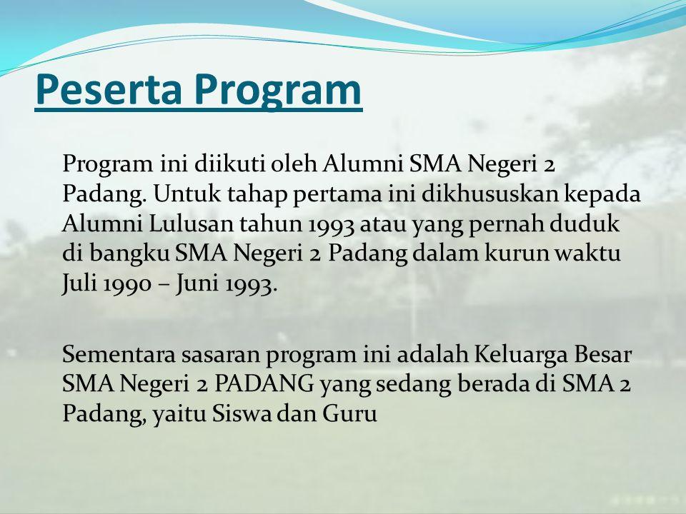 Peserta Program Program ini diikuti oleh Alumni SMA Negeri 2 Padang. Untuk tahap pertama ini dikhususkan kepada Alumni Lulusan tahun 1993 atau yang pe