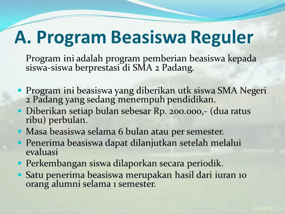 A. Program Beasiswa Reguler Program ini adalah program pemberian beasiswa kepada siswa-siswa berprestasi di SMA 2 Padang. Program ini beasiswa yang di