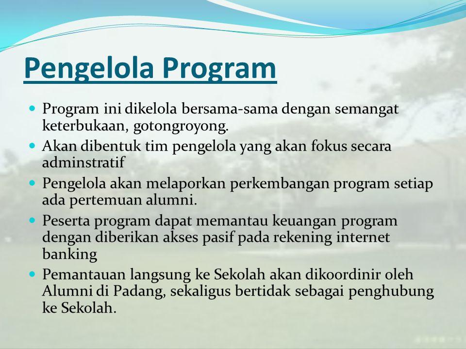 Pengelola Program Program ini dikelola bersama-sama dengan semangat keterbukaan, gotongroyong. Akan dibentuk tim pengelola yang akan fokus secara admi
