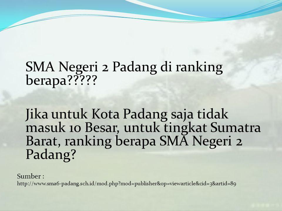 SMA Negeri 2 Padang di ranking berapa????? Jika untuk Kota Padang saja tidak masuk 10 Besar, untuk tingkat Sumatra Barat, ranking berapa SMA Negeri 2