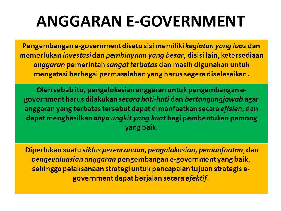 ANGGARAN E-GOVERNMENT Pengembangan e-government disatu sisi memiliki kegiatan yang luas dan memerlukan investasi dan pembiayaan yang besar, disisi lai