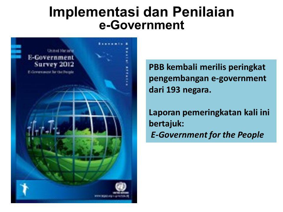 Implementasi dan Penilaian e-Government PBB kembali merilis peringkat pengembangan e-government dari 193 negara. Laporan pemeringkatan kali ini bertaj
