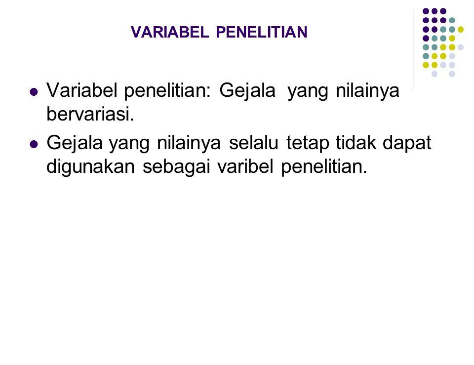 VARIABEL PENELITIAN Variabel penelitian: Gejala yang nilainya bervariasi. Gejala yang nilainya selalu tetap tidak dapat digunakan sebagai varibel pene