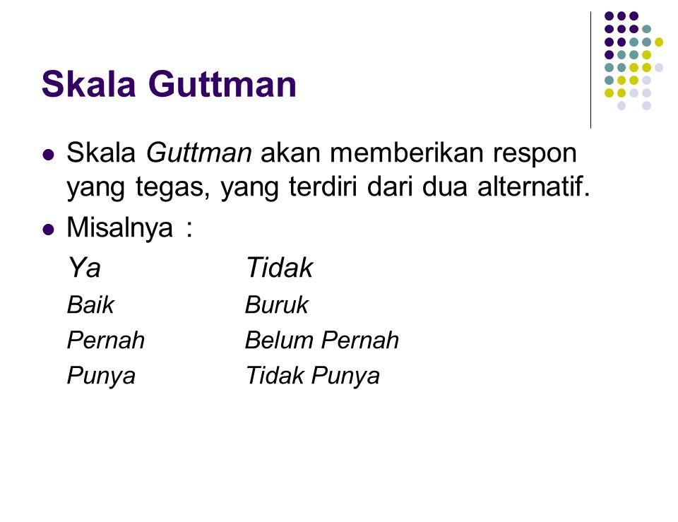 Skala Guttman Skala Guttman akan memberikan respon yang tegas, yang terdiri dari dua alternatif.