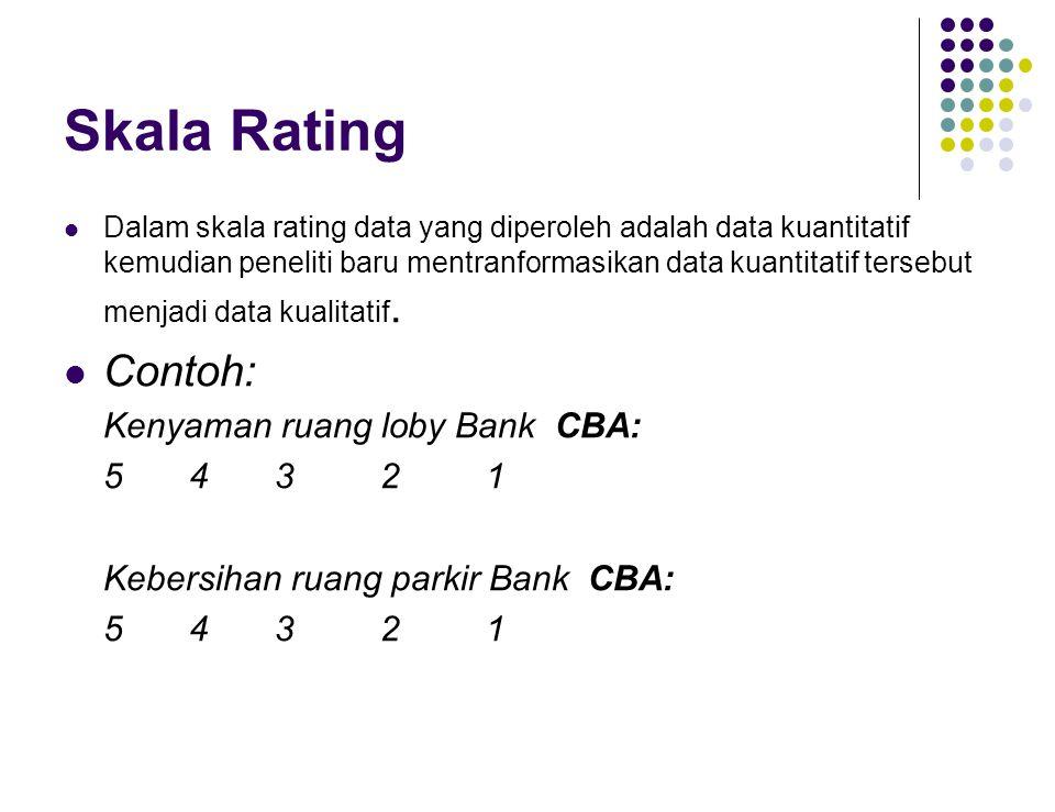 Skala Rating Dalam skala rating data yang diperoleh adalah data kuantitatif kemudian peneliti baru mentranformasikan data kuantitatif tersebut menjadi data kualitatif.