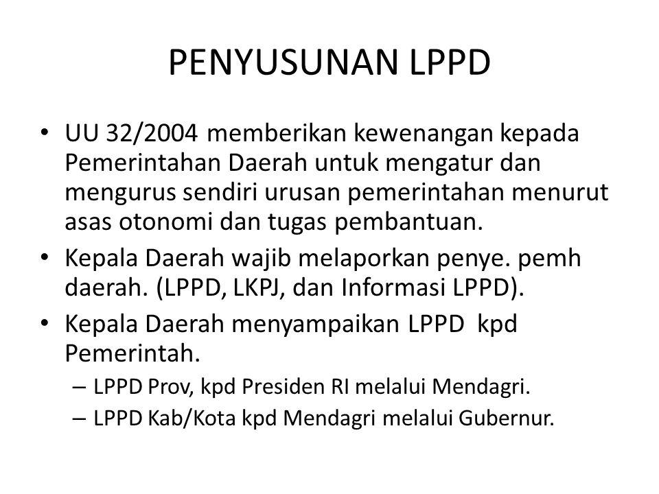 PENYUSUNAN LPPD UU 32/2004 memberikan kewenangan kepada Pemerintahan Daerah untuk mengatur dan mengurus sendiri urusan pemerintahan menurut asas otono
