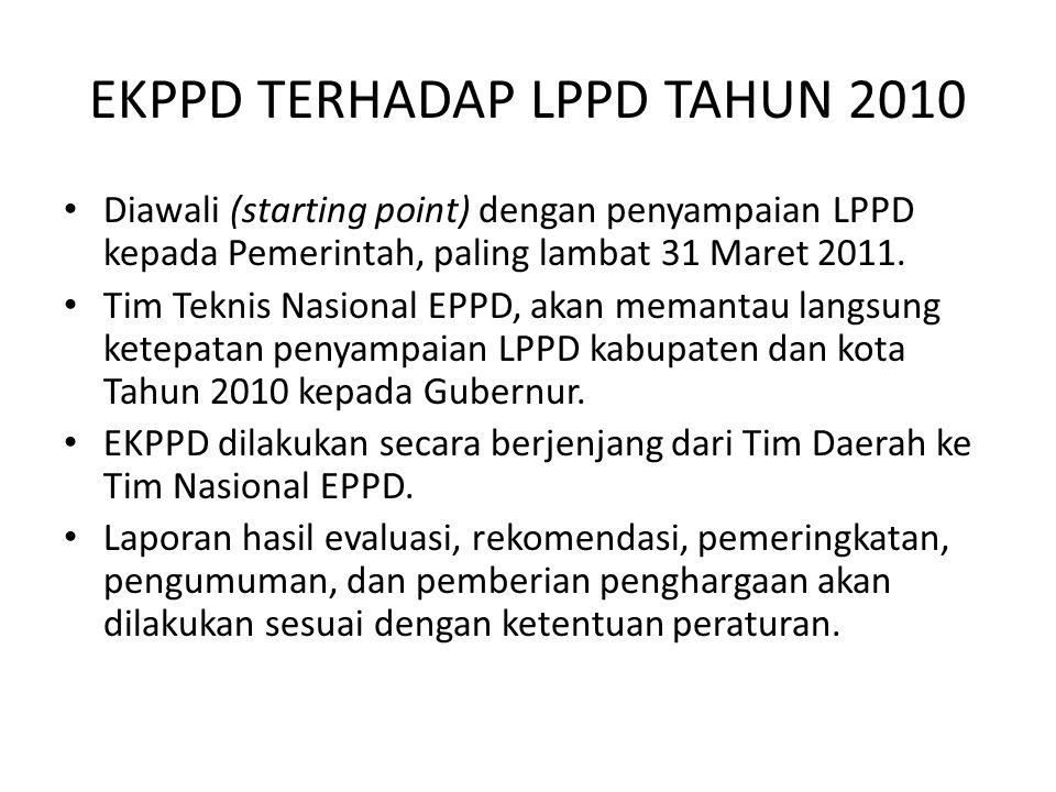 EKPPD TERHADAP LPPD TAHUN 2010 Diawali (starting point) dengan penyampaian LPPD kepada Pemerintah, paling lambat 31 Maret 2011. Tim Teknis Nasional EP