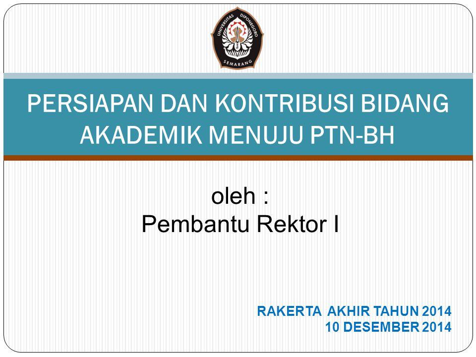 oleh : Pembantu Rektor I RAKERTA AKHIR TAHUN 2014 10 DESEMBER 2014 PERSIAPAN DAN KONTRIBUSI BIDANG AKADEMIK MENUJU PTN-BH