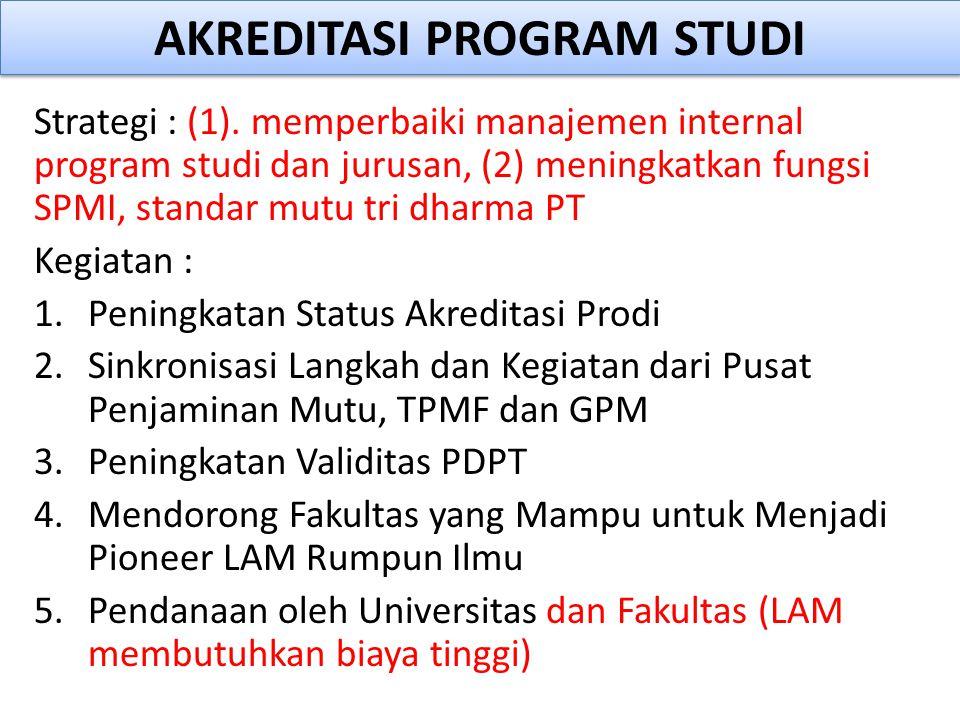 Strategi : (1). memperbaiki manajemen internal program studi dan jurusan, (2) meningkatkan fungsi SPMI, standar mutu tri dharma PT Kegiatan : 1.Pening