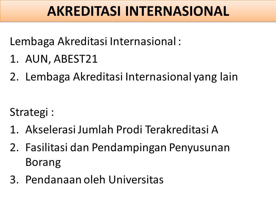Lembaga Akreditasi Internasional : 1.AUN, ABEST21 2.Lembaga Akreditasi Internasional yang lain Strategi : 1.Akselerasi Jumlah Prodi Terakreditasi A 2.Fasilitasi dan Pendampingan Penyusunan Borang 3.Pendanaan oleh Universitas AKREDITASI INTERNASIONAL
