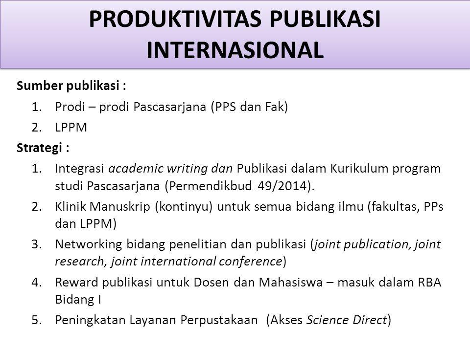 Sumber publikasi : 1.Prodi – prodi Pascasarjana (PPS dan Fak) 2.LPPM Strategi : 1.Integrasi academic writing dan Publikasi dalam Kurikulum program studi Pascasarjana (Permendikbud 49/2014).