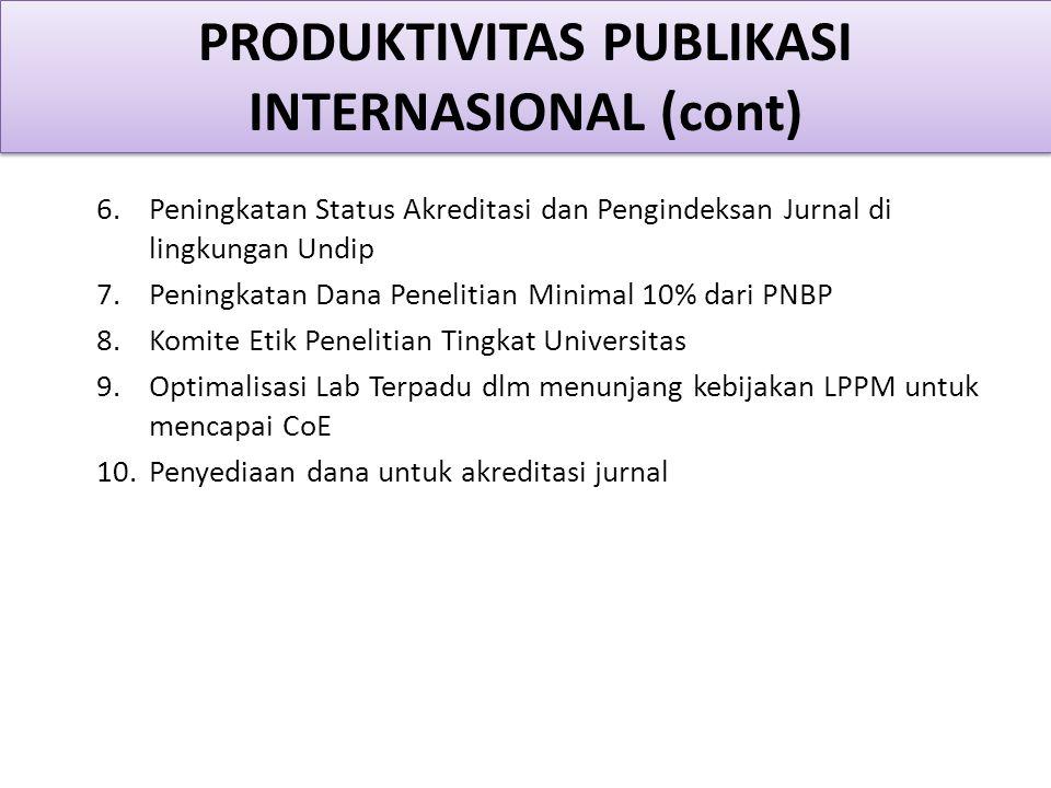 6.Peningkatan Status Akreditasi dan Pengindeksan Jurnal di lingkungan Undip 7.Peningkatan Dana Penelitian Minimal 10% dari PNBP 8.Komite Etik Penelitian Tingkat Universitas 9.Optimalisasi Lab Terpadu dlm menunjang kebijakan LPPM untuk mencapai CoE 10.Penyediaan dana untuk akreditasi jurnal PRODUKTIVITAS PUBLIKASI INTERNASIONAL (cont)