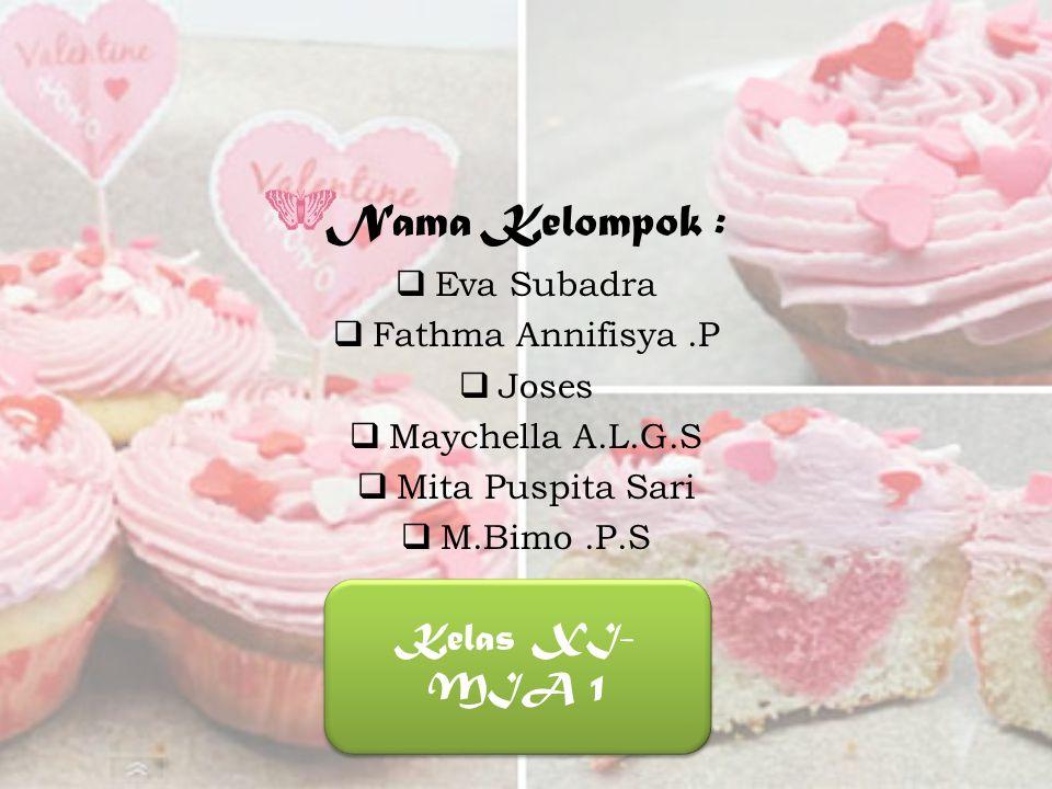 Nama Kelompok :  Eva Subadra  Fathma Annifisya.P  Joses  Maychella A.L.G.S  Mita Puspita Sari  M.Bimo.P.S Kelas XI- MIA 1
