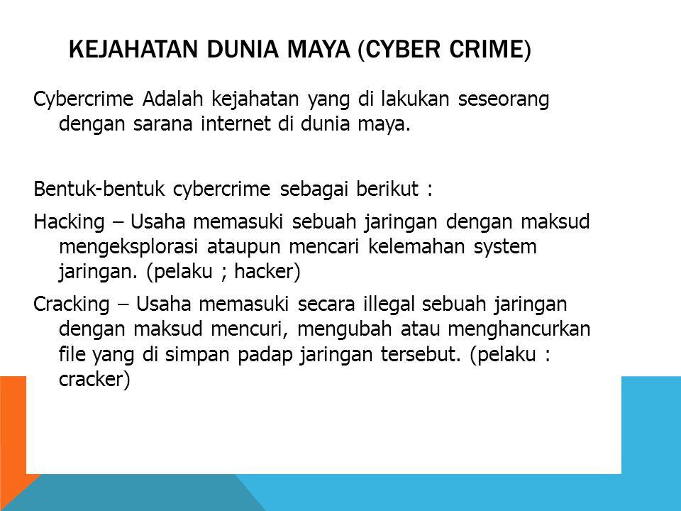 KEJAHATAN DUNIA MAYA (CYBER CRIME) Cybercrime Adalah kejahatan yang di lakukan seseorang dengan sarana internet di dunia maya.