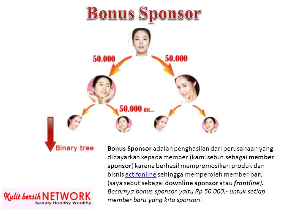 Bonus Sponsor adalah penghasilan dari perusahaan yang dibayarkan kepada member (kami sebut sebagai member sponsor) karena berhasil mempromosikan produ