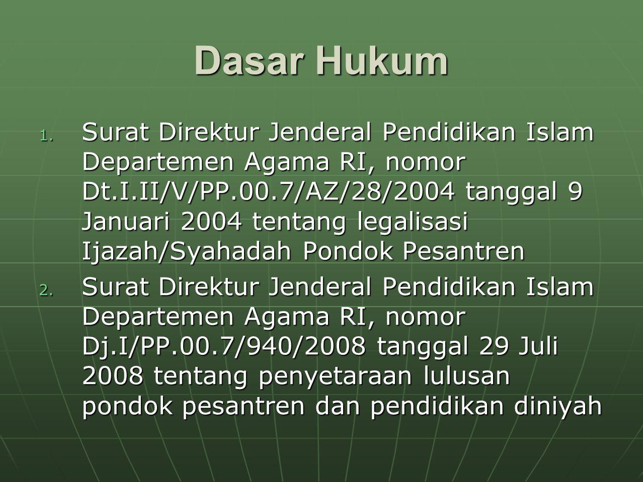 Dasar Hukum 1. Surat Direktur Jenderal Pendidikan Islam Departemen Agama RI, nomor Dt.I.II/V/PP.00.7/AZ/28/2004 tanggal 9 Januari 2004 tentang legalis