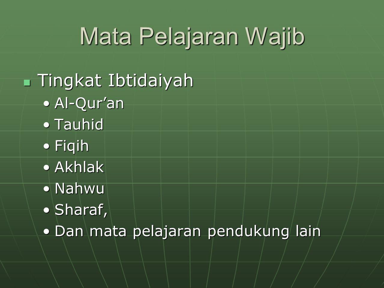 Mata Pelajaran Wajib Tingkat Ibtidaiyah Tingkat Ibtidaiyah Al-Qur'anAl-Qur'an TauhidTauhid FiqihFiqih AkhlakAkhlak NahwuNahwu Sharaf,Sharaf, Dan mata