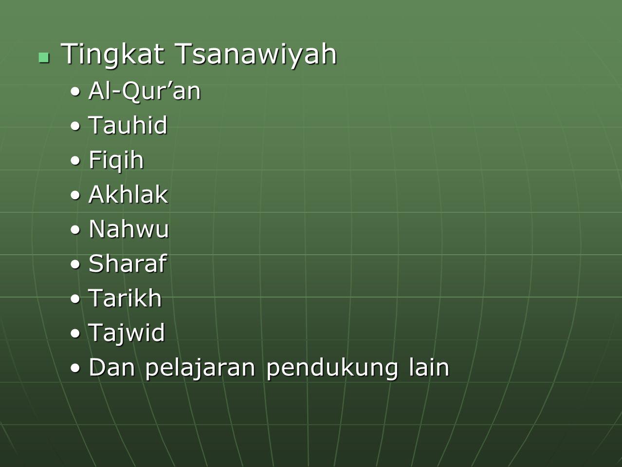 Tingkat Tsanawiyah Tingkat Tsanawiyah Al-Qur'anAl-Qur'an TauhidTauhid FiqihFiqih AkhlakAkhlak NahwuNahwu SharafSharaf TarikhTarikh TajwidTajwid Dan pe