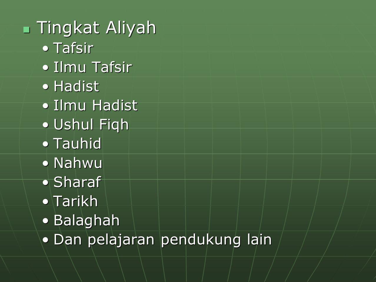 Tingkat Aliyah Tingkat Aliyah TafsirTafsir Ilmu TafsirIlmu Tafsir HadistHadist Ilmu HadistIlmu Hadist Ushul FiqhUshul Fiqh TauhidTauhid NahwuNahwu Sha