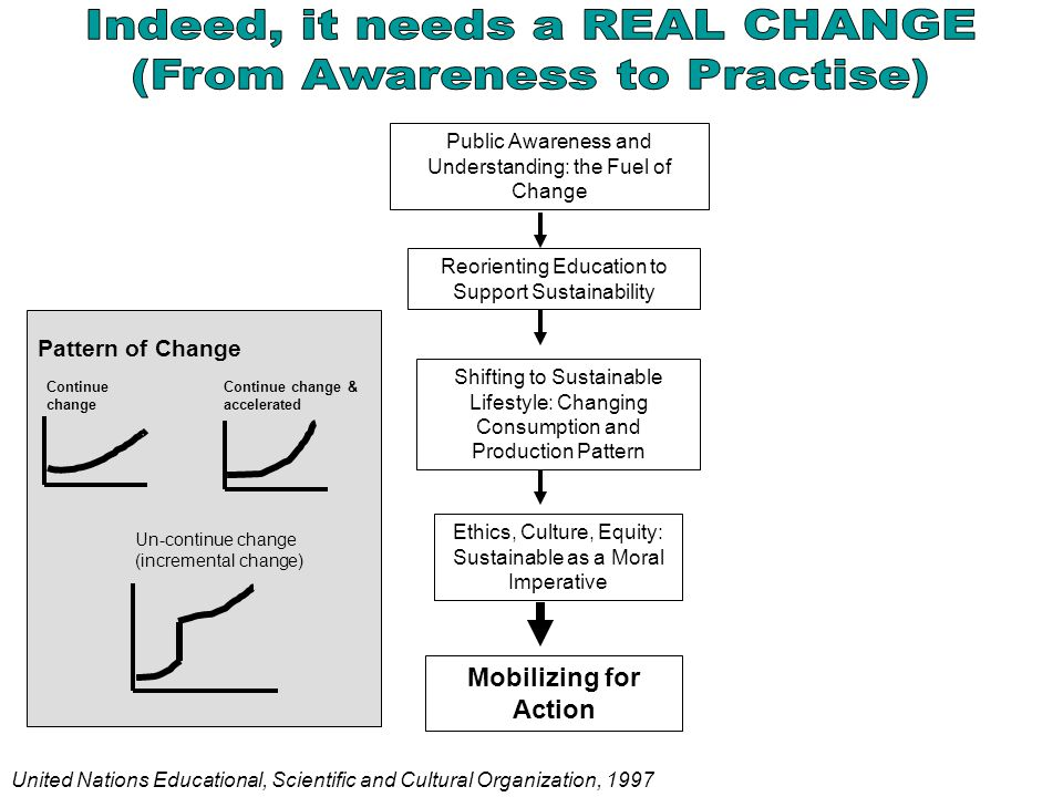Public Awareness and Understanding: the Fuel of Change Reorienting Education to Support Sustainability Shifting to Sustainable Lifestyle: Changing Con
