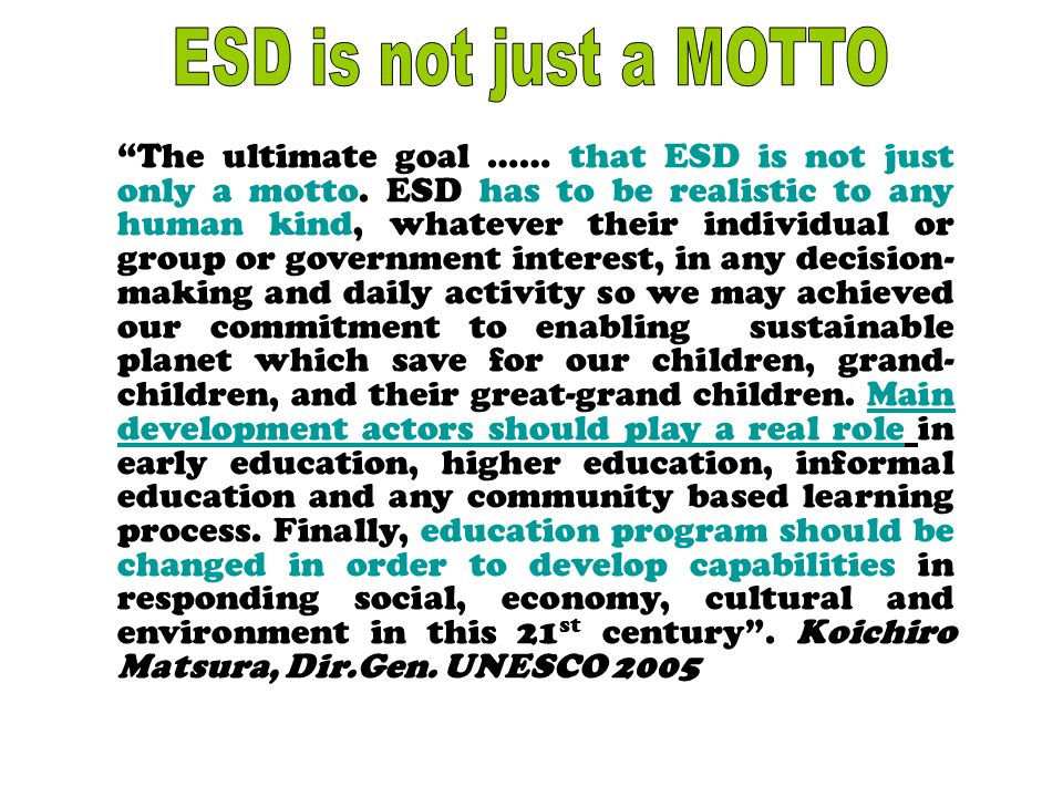 """""""The ultimate goal …… that ESD is not just only a motto. ESD has to be realistic to any human kind, whatever their individual or group or government i"""